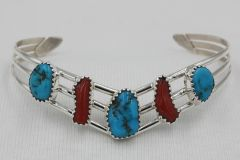 Turquoise & Coral 5 Stone Bracelet - BR2665