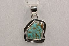 Number 8 Mine Turquoise Pendant & Chain - N84402 - SOLD