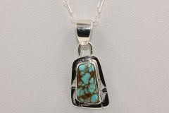 Number 8 Mine Turquoise Pendant & Chain - N83840 - SOLD