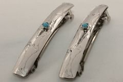 Set of 2 Silver with Turquoise Hair Barrettes - HC1174 - SOLD
