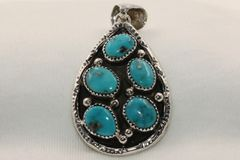 5 Stone Morenci Turquoise Pendant - P4804 - SOLD