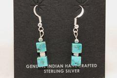 Kingman Turquoise Block Earrings - ER622