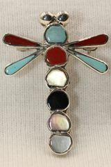 Dragonfly Multi Stone Inlay Pendant - P123