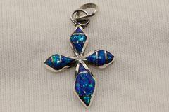 Blue Opal Cross Pendant - P765 - SOLD