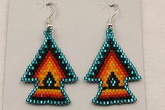 Navajo Made Beaded Arrowhead Earrings - ER715