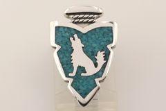 Chip Inlay Turquoise Wolf Arrowhead Pendant - P2162