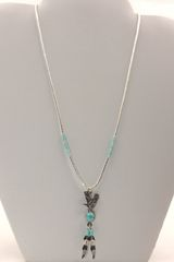 Silver Hishi Eagle and Feathers Necklace - N1203