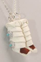 Handmade Navajo Pair Tall Leather Moccasins Necklace - N1648