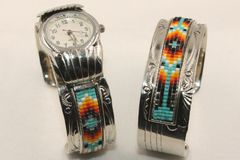 Beaded Silver Watch Cuff and / or Bracelet