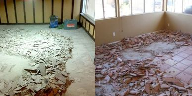 Tile, carpet and wood floor removal