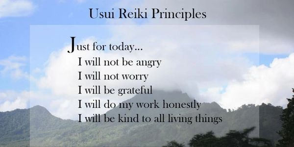 Reiki Principles Just for today I will not be angry I will not worry I will be grateful etc.