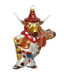 Cowboy Cow Christmas Ornament