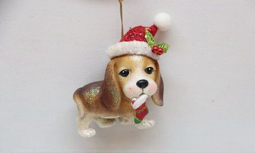 Beagle w/Hat Christmas Tree Ornament