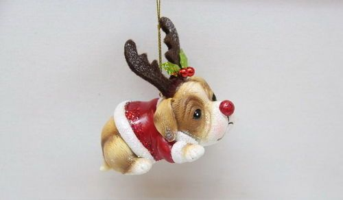 Retriever w/Deer Antlers Christmas Tree Ornament