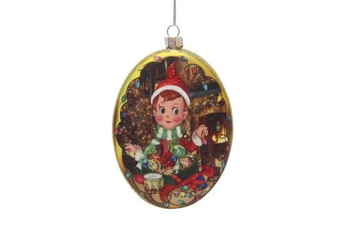Glass Elf Oval Christmas Tree Ornament