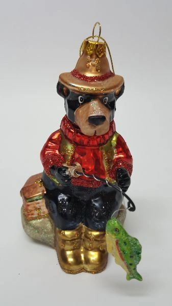 Fishing Bear Christmas Ornament