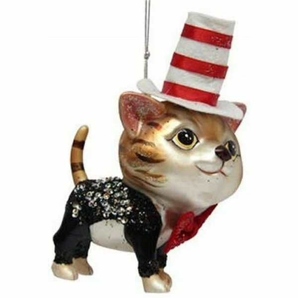 Cat With Top Hat Christmas Ornament