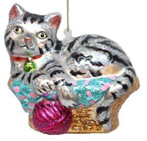 Cat In Basket Christmas Ornament