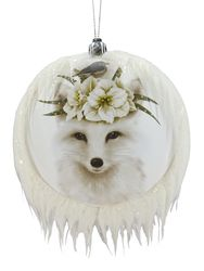 White Fox Christmas Ornament