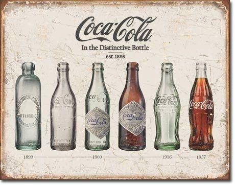 Coca-Cola Bottle Evolution Vintage Metal Sign