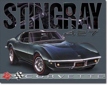 1968 Corvette Stingray 427 Vintage Metal Sign
