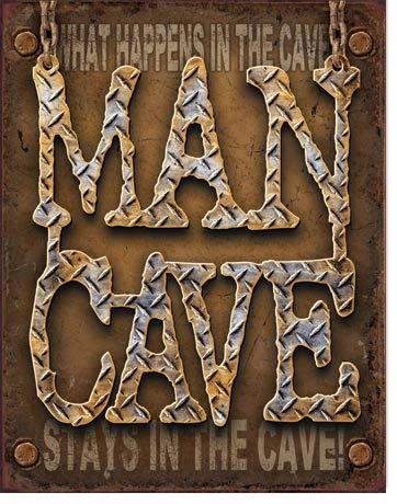 Man Cave Diamond Plate Metal Sign