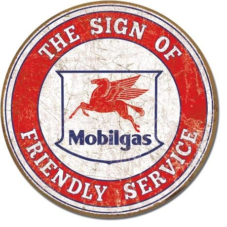 Mobilgas The Sign Of Friendly Service Metal Sign