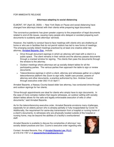 Annabel Bazante Law, PLLC - Press Release: Attorneys Adapting to Social Distancing