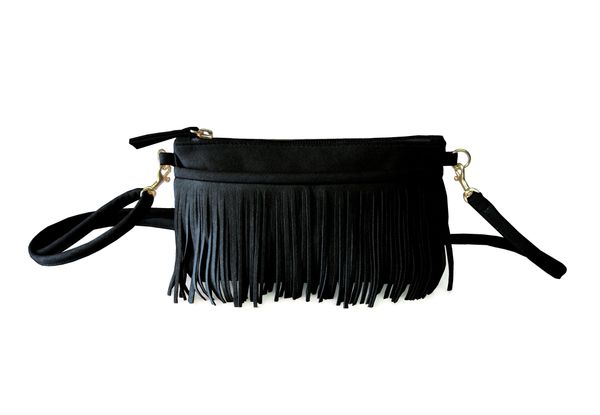 Hipsters For Sisters Fringe Belt Bag (Black)