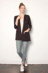 LA Relaxed Janey 3/4 Sleeve Cardigan (Black)