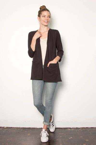LA Relaxed Janey 3/4 Sleeve Cardigan (Black)