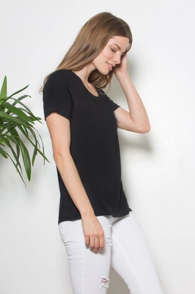LA Relaxed Jack Scoop Neck Tee (Black)
