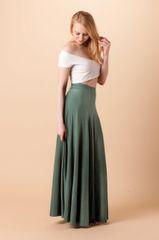 Orgotton Half Circle Maxi Skirt (Olive)
