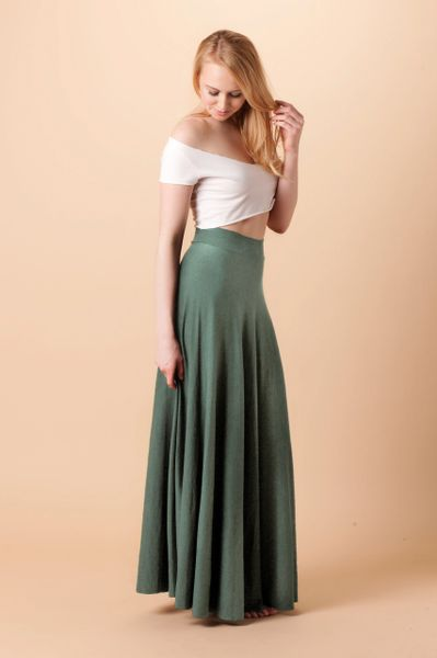 Orgotton Half Circle Maxi Skirt (Olive)