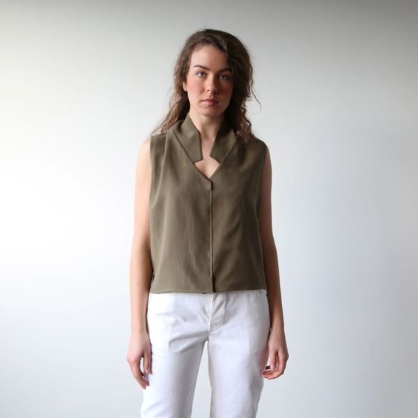 Hackwith Design House Lapel Cropped Tank (Olive Green)
