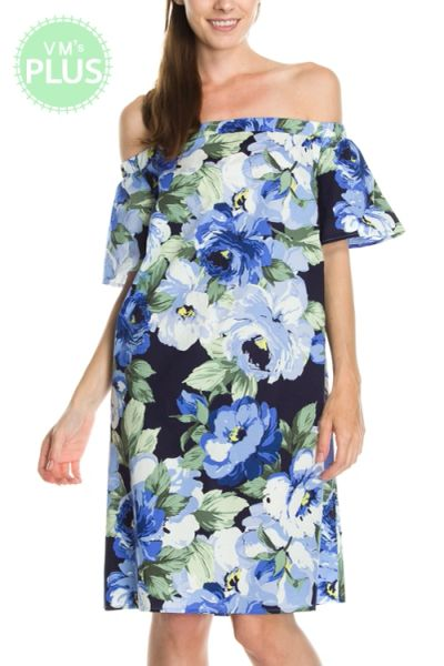 MaiTai-Floral Print Off Shoulder Dress PLUS