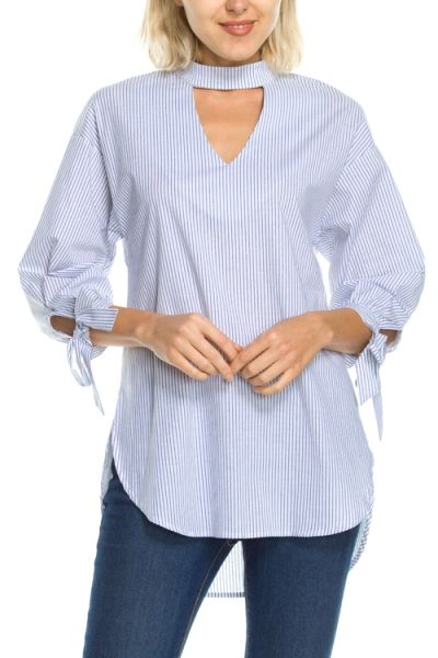 Potter's Pot-Striped Mock Neck Cutout Detail Top With Tied Sleeves