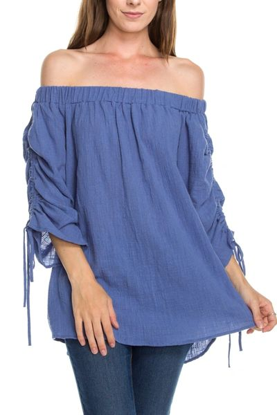 Spring Haze-Off Shoulder Ruched Sleeves Detail Tunic Top
