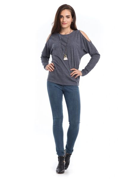 Synergy Organic Clothing-Flax Cold Shoulder Top (Charcoal)