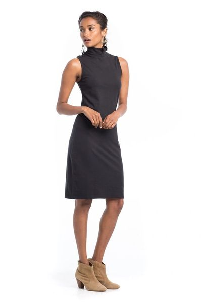 Synergy Organic Clothing-Recycled Poly Mock Neck Dress (Jet Black)