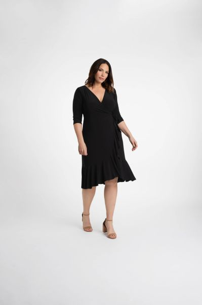 Kiyonna Whimsy Wrap Dress (Black Noir)