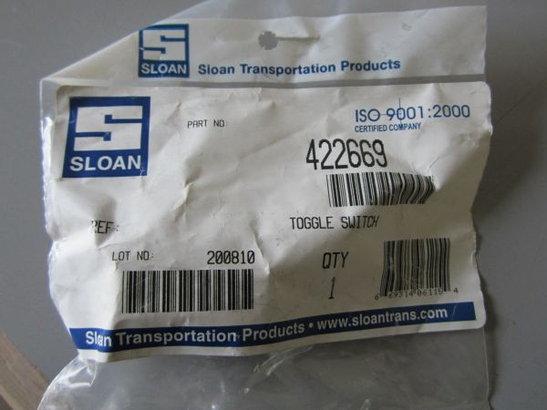 Sloan 422669 Toggle Switch - Double Pole Double Throw BE20083/090208/34-580/55054/DS-208