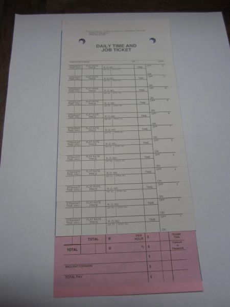Mechanic's Daily Time and Job Ticket Flag Sheets TT-126