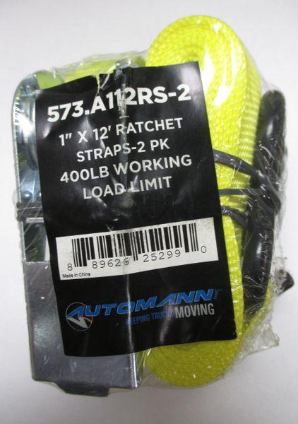 """Automann 1"""" x 12' Ratchet Strap Pack 573-A112RS-2"""