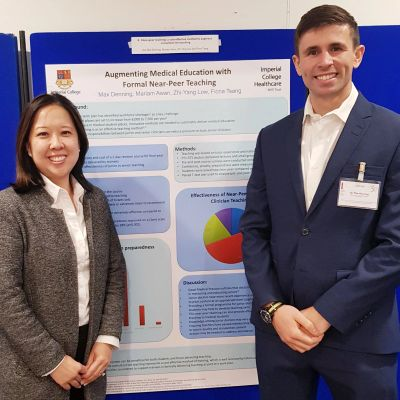 Dr Fiona Tsang-Wright, Consultant Surgeon presenting a poster on near-peer teaching 2019