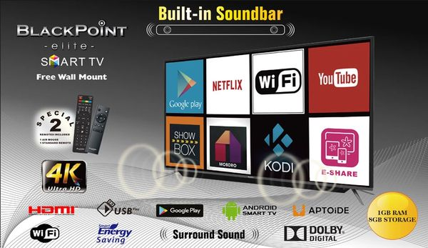 "55"" BlackPoint Smart Android TV with Blutooth 4K"