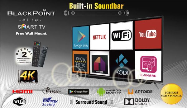 "39"" BlackPoint Smart Android TV with Sound Bar"