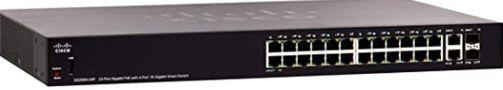 Cisco SG250X-24P Smart Switch, 24 Gigabit Ethernet (GbE) + 4 10 Gigabit Ethernet Combo Ports SFP+, 195W PoE, Limited Lifetime Protection