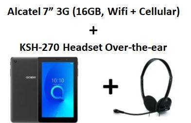 """Alcatel 1T 7"""" 3G (16GB, WiFi + Cellular) + Xtech - Headset - Over-the-ear"""