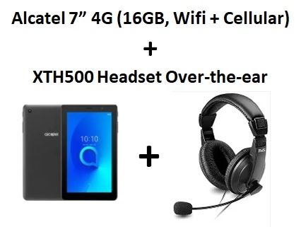 """Alcatel 1T 7"""" 4G (16GB, WiFi + Cellular) + Xtech - Headset - Over-the-ear"""